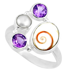 6.70cts natural white shiva eye amethyst 925 sterling silver ring size 9 r57605