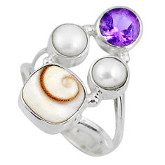 6.27cts natural white shiva eye amethyst pearl 925 silver ring size 6.5 r57574