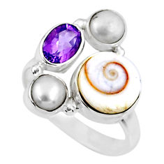 6.53cts natural white shiva eye amethyst pearl 925 silver ring size 8.5 r57607