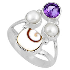 6.53cts natural white shiva eye amethyst pearl 925 silver ring size 8 r58416