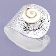 4.52cts natural white shiva eye round 925 silver adjustable ring size 9 r54918