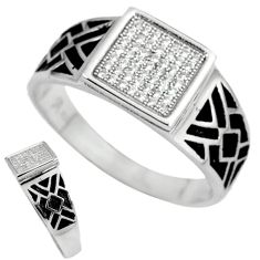 Natural white topaz 925 sterling silver mens ring jewelry size 10 c11363