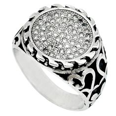 Natural white topaz 925 sterling silver mens ring jewelry size 8 c11362