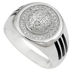 Natural white topaz 925 sterling silver mens ring jewelry size 8 c11379