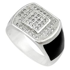 Natural white topaz black enamel 925 sterling silver mens ring size 7.5 c11376