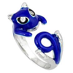 Natural white topaz enamel 925 silver adjustable ring size 6.5 a34966 c13919