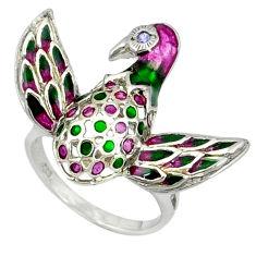 Natural white topaz enamel 925 sterling silver bird charm ring size 9 c16820