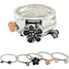 Natural white topaz enamel 925 silver flower 5 band rings size 5.5 c22239