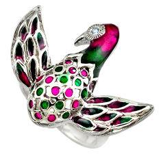 Natural white topaz enamel 925 sterling silver bird ring size 7 c16818