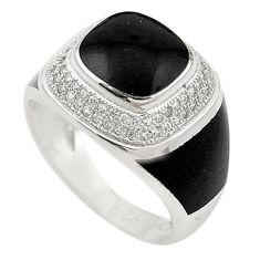 Natural white topaz enamel 925 sterling silver mens ring size 8 c11375