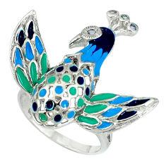 Natural white topaz enamel 925 sterling silver bird charm ring size 7 c16812