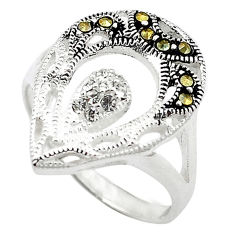 Natural white topaz marcasite 925 sterling silver ring size 6 c22080