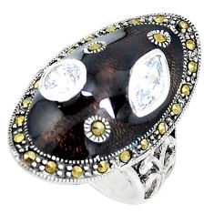 3.16cts natural white topaz marcasite enamel 925 silver ring size 7 c21399