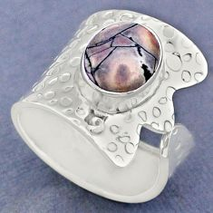 4.38cts natural wild horse magnesite 925 silver adjustable ring size 8 r63405