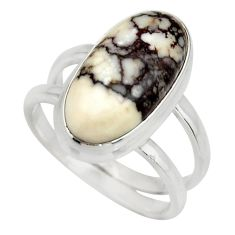 6.33cts natural wild horse magnesite 925 silver solitaire ring size 7.5 r27206