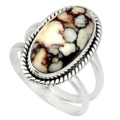 6.32cts natural wild horse magnesite 925 silver solitaire ring size 7.5 r27211