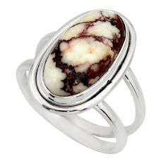 6.18cts natural wild horse magnesite 925 silver solitaire ring size 8.5 r27212