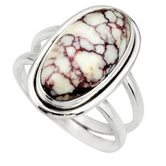 6.32cts natural wild horse magnesite 925 silver solitaire ring size 7.5 r27218