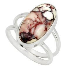 6.03cts natural wild horse magnesite 925 silver solitaire ring size 7.5 r27219