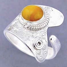 3.13cts natural yellow amber bone 925 silver adjustable ring size 10 r54833