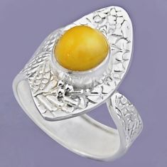 3.15cts natural yellow amber bone 925 silver adjustable ring size 8 r54726