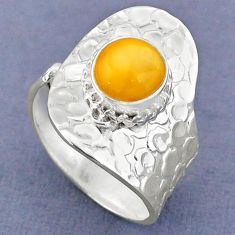 3.10cts natural yellow amber bone 925 silver adjustable ring size 8 r63243