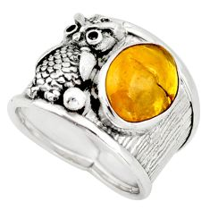 4.82cts natural yellow amber bone 925 silver owl solitaire ring size 7.5 d45893