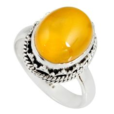 5.08cts natural yellow amber bone 925 silver solitaire ring size 7.5 r19242