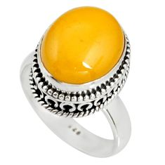 5.52cts natural yellow amber bone 925 silver solitaire ring size 7.5 r19243