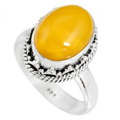 5.52cts natural yellow amber bone 925 silver solitaire ring size 7.5 r19245