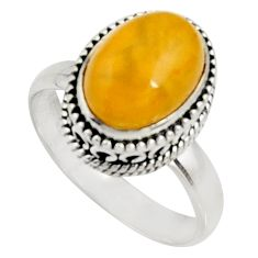 4.38cts natural yellow amber bone 925 silver solitaire ring size 8.5 r22543