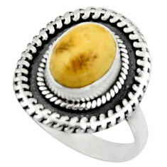 4.06cts natural yellow amber bone 925 silver solitaire ring size 7.5 r52581