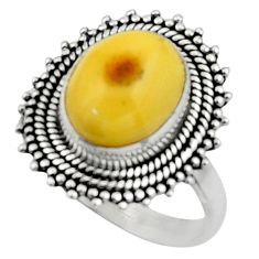 4.67cts natural yellow amber bone 925 silver solitaire ring size 8.5 r52586
