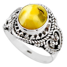 4.38cts natural yellow amber bone 925 silver solitaire ring size 6.5 r53301