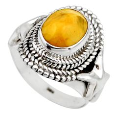 4.02cts natural yellow amber bone 925 silver solitaire ring size 6.5 r53302