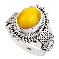 4.40cts natural yellow amber bone 925 silver solitaire ring size 6.5 r53305