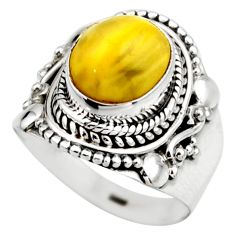 4.28cts natural yellow amber bone 925 silver solitaire ring size 6 r53303