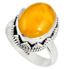 5.53cts natural yellow amber bone 925 silver solitaire ring size 7 r19241