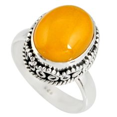 5.28cts natural yellow amber bone 925 silver solitaire ring size 7 r19246