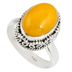 5.07cts natural yellow amber bone 925 silver solitaire ring size 7 r19256