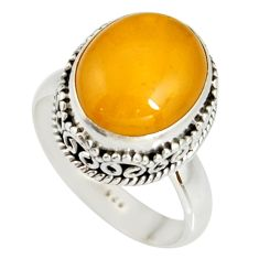 5.93cts natural yellow amber bone 925 silver solitaire ring size 8 r19247