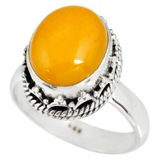 5.96cts natural yellow amber bone 925 silver solitaire ring size 8 r19248