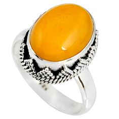 5.30cts natural yellow amber bone 925 silver solitaire ring size 8 r19250