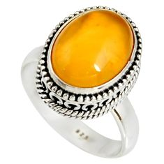 5.95cts natural yellow amber bone 925 silver solitaire ring size 8 r19252