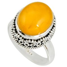 5.58cts natural yellow amber bone 925 silver solitaire ring size 8 r19257