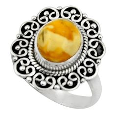 4.22cts natural yellow amber bone 925 silver solitaire ring size 8 r52588