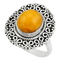 4.70cts natural yellow amber bone 925 silver solitaire ring size 8 r52590