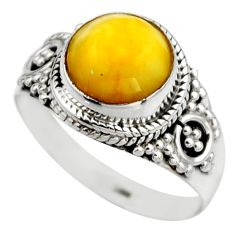 4.18cts natural yellow amber bone 925 silver solitaire ring size 8 r53307