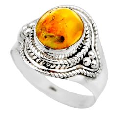 4.26cts natural yellow amber bone 925 silver solitaire ring size 8 r53309