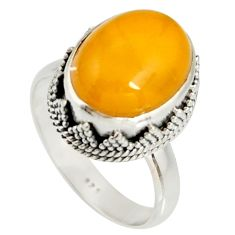 6.57cts natural yellow amber bone 925 silver solitaire ring size 9 r19255